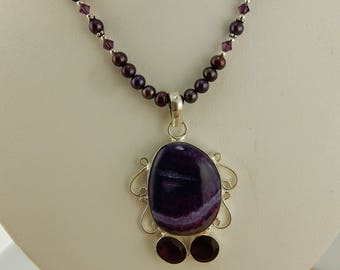 Purple Agate Cabochon on hand beaded purple freshwater pearl necklace with Swarovski Crystals