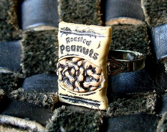 Miniature Bag of Roasted Peanuts Adjustable Ring in Sunny Golden Yellow - Take me out to the ball park