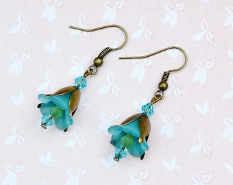Vintage flower earrings, lily earrings, turquoise floral earrings, bluebell earrings, romantic earrings
