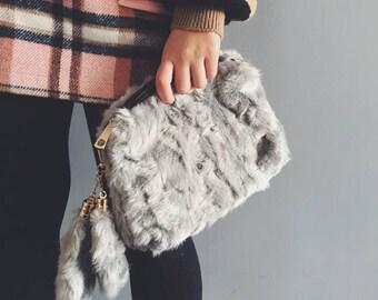 Free Shipping - Faux Fur Clutch (Grey)