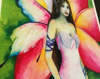 Fine art print, fairy painting, Frangipani Faerie, kim turner art, australian artist, lowbrow, fairy art, fairy pictures, pink, lowbrow art