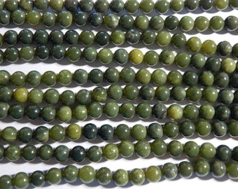 8mm Nephrite Jade Round Polished Semi Precious Gemstone Beads, 15 Inch Strand (N2-IND2C52)