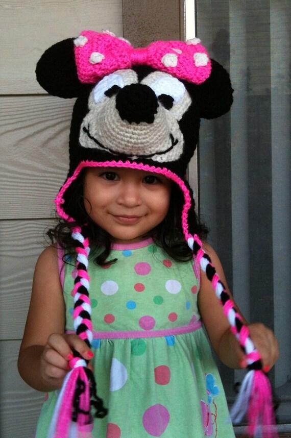INSTANT DOWNLOAD Minnie Mouse Crochet Beanie Ear-flaps PDF