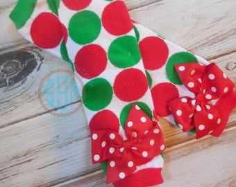 Red and Green Polka Dot Leg Warmers with Red Polka Bows for Baby Toddler Girl
