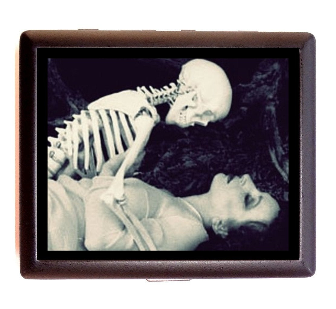 Skeleton Romance Cigarette Case Flapper Art Deco Woman
