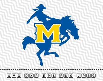 SVG McNeese State Cowboys Logo Vector Layered Cut File Silhouette Cameo Cricut Design Template Stencil Vinyl Decal Tshirt Heat Transfer