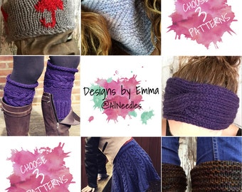 PATTERN DISCOUNT PACKAGE Choice of Three Listings Deal - Selected Patterns Only 3 Pattern Bundle Mix and Match