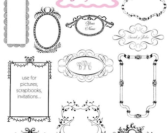 Digital Frame Clip Art Frame Wedding Clipart Digital Scrapbook Frame Clipart Printable Frame - Instant Download