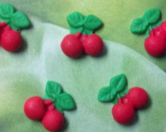 Red Cherries-Edible Fondant Cherries-Set of 12-Fondant Fruit-Cake/Cupcake Toppers