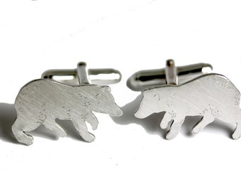 Ursa Major                 - solid silver bear cufflinks