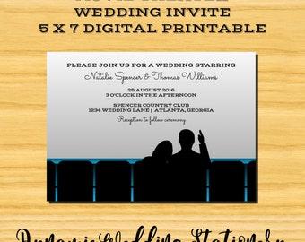 DIY Digital Printable Movie Theater Wedding Invite