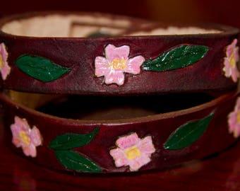 Pink dogwood leather wrap bracelet