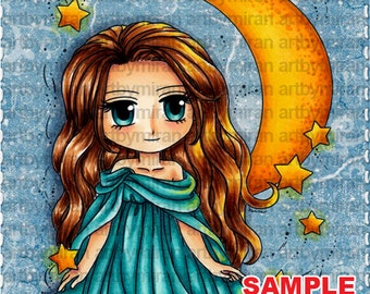 Digital Stamp - Moonstar Maiden (#283), Digi Stamp, Coloring page, Printable Line art for Card and Craft Supply
