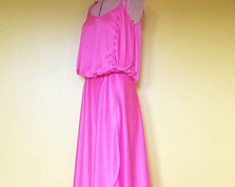Vintage Wrap Dress - 1970s Hot Pink High-Low Party Dress with Buttons - Tied Spahetti Straps - Disco Dancing Queen - Bright Pink - Size XS