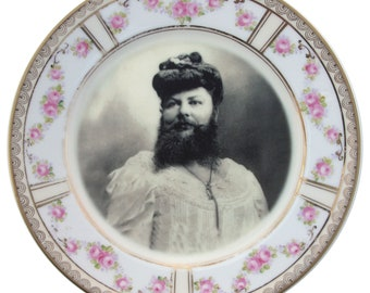 """Madame Delait, The Bearded Lady of Plombieres Plate 7.65"""""""