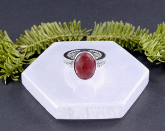 Oval Faceted Indian Ruby Ring // Ruby Jewelry // Corundum Jewelry // Sterling Silver // Village Silversmith