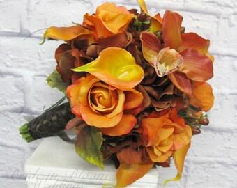 Fall wedding bouquet - Autumn bridal bouquet - Real touch silk wedding flowers