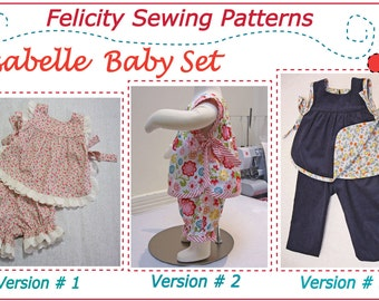 Baby girl sewing pattern for the Isabelle Baby Set, baby girls top & pants pdf sewing pattern sizes 3mths to 4 yrs