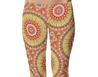 Wild Leggings Yoga Pants, Printed Yoga Tights for Women, Bright Summer Mandala Pattern