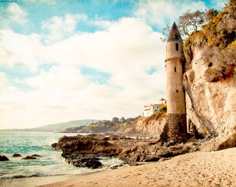 Dreamy Beach Print, Laguna Beach, California, Victoria Tower, Pirate Tower, Rapunzel, Castle, Fairytale Art, Victoria Beach, Photograph