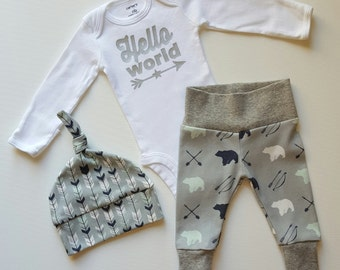 Baby Boy Coming Home Outfit. Newborn Boy Coming Home Outfit Boy. Personalized. Name Reveal. Hello World. Arrowhead.