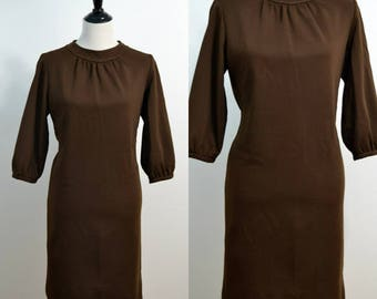 Vintage 1970s Brown Shift Dress / 70s Day Dress / Large L / Gathered Neck Line / Balloon Sleeve / Knee Length / Sack Dress / 60s 1960s