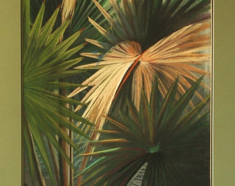 "Palm Composition - Original Pastel Painting - One of a Kind - Large Framed painting 36"" x 30"""