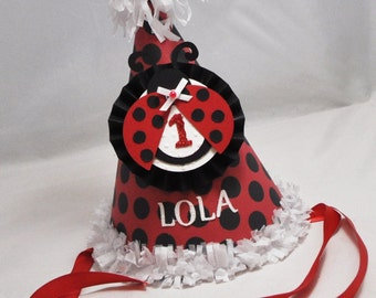 Ladybug Party Hat, 1st Birthday Girl, Personalized Birthday Hat, Ladybug Birthday, Cake Smash Hat, Photo Prop, Red and Black, Ladybug Decor