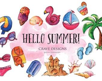 Watercolor Summer Clip Art Kids Clip Art Beach Clipart, Beach Clip Art, Summer, Vacation Clipart