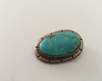 """Estate Vintage Native American Sterling Silver With Turquoise Marked """"SR""""  Brooch/Pin Item # (32)"""