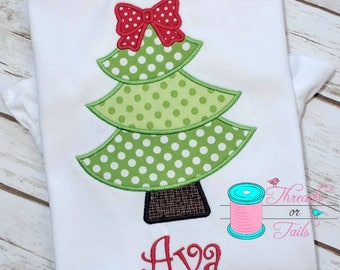 Christmas Tree Applique Shirt - Christmas Shirt - Christmas Applique Shirt - Girls Christmas Shirt - Whimsy Christmas Tree
