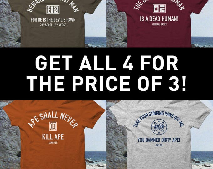 Planet of the Ape Tshirt Set - All 4 designs for the price of 3