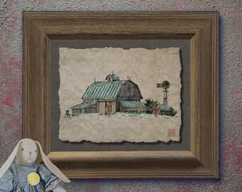 Nostalgic corn crib windmill barn art Whimsical yesteryear print adds Americana art family memories as 8x10 or 13x19 rural wall decor