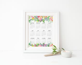 Printable Calendar, Watercolor Floral Wall Calendar 8x10 11x14 Yearly calendar, Office decor, Printable calendar, 2018 calendar, home office
