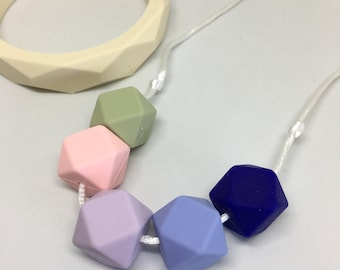 Olive - blue pink lilac and green geometric beads TEETHING and NURSING necklace Silicone BPA Free food grade silicone