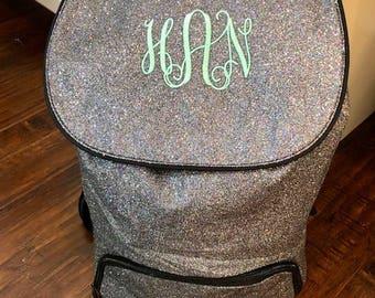 Monogram backpack glitter, personalized backpack, sparkle backpack, cheer backpack, dance bag, gold silver red pink black