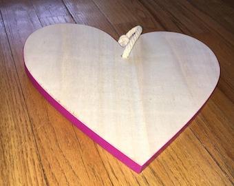 Customizable wooden heart hanging trivet - hand lettered