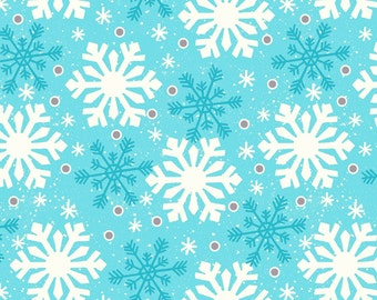 Wilmington Prints Debbie Mumm All Bundled Up Large Snowflakes Blue Christmas Fabric by the Yard 67539-441