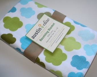 Baby Boy Blanket - Gender Neutral Baby Blanket - Oversized Flannel Baby Receiving Blanket - Swaddle Blanket - Clouds Baby Blanket, Nursery