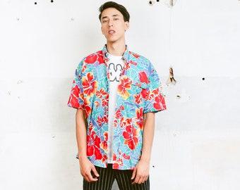 Men Multicolor Shirt . Hawaii Shirt 80s Mens Shirt Colorful Summer Top Mens Rainbow Shirt Hipster 80s Skater Shirt . size Large L