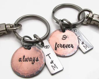 Personalized Couples KeyChain Set, His and Hers, Hand Stamped KeyChain, Personalized Wedding Gift, Copper Anniversary, Valentines Day Gift
