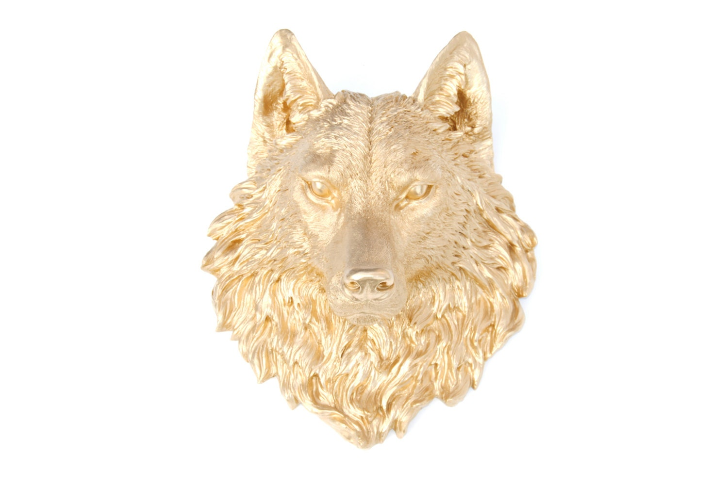 Wolf Head Wall Mount FAUX TAXIDERMY Gold Resin Wolf Head
