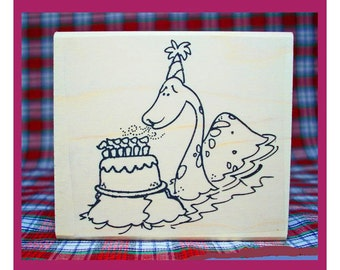Birthday Nessie Rubber Stamp Loch Ness Monster Scotland #811