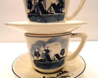 Pair of Blue Delft Tea Cups-Signed Delft Windmills