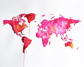 Original Watercolor World Map, Bright Pink Map Painting 20x28 Inch