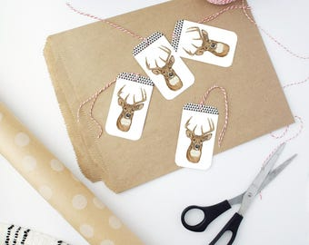 Gift Tag Set, Present Tags, Unique Gift Tags, Holiday Bag Tags, Winter Holiday Tags, Christmas Packaging, Gift Wrap Tag, Gift Packaging Tags