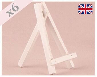 Madera blanco caballetes para tarjetas del lugar pequeños, signos de la tabla, los portaetiquetas - Pack de 6