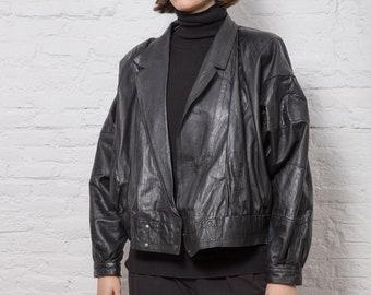 Vintage Oversized Black Leather Jacket