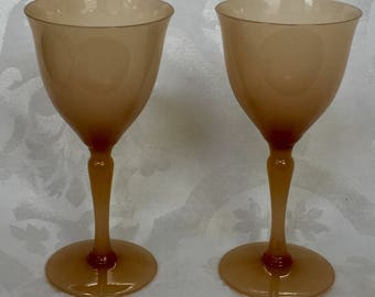 Pair of Special Earth Rust Mixed Hues Wine Glasses All Occasion Opaline Unique Rust Brown Earth Rare Hard to Find