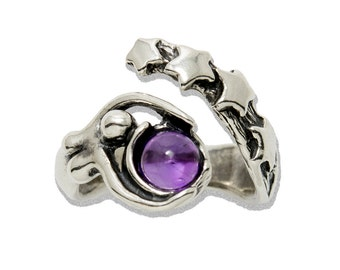 Starbirth adjustable Ring in Sterling Silver shown with Amethyst